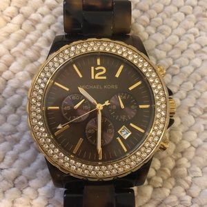 Michael Kors watch with tortoise shell band